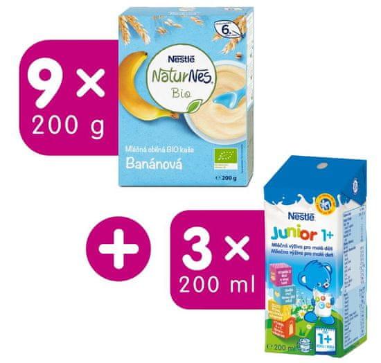 Nestlé Naturnes BIO mléčná kaše Banánov 9x200 g + darek