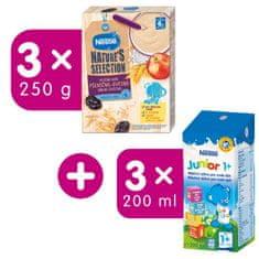 Nestlé Mliečna kaša Pšenično-ovsená Jablko Slivka 3x250 g