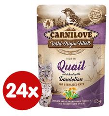 Carnilove karma dla kotów Rich in Quail Enriched with Dandelion for sterilized 24x85 g