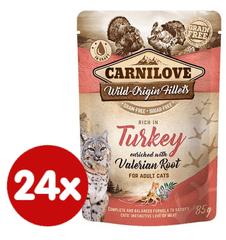 Carnilove karma dla kotów Rich in Turkey Enriched with Valerian 24x85 g
