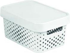 Curver úložný box INFINITY 11l s víkem bílý puntíky