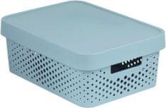 Curver úložný box INFINITY 11l s víkem šedý puntíky