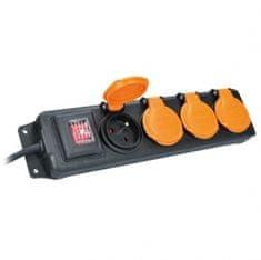 Solight Prodlužovací kabel venkovní gumový 3m 4 zásuvka s vypínačem 230V PP332 Solight