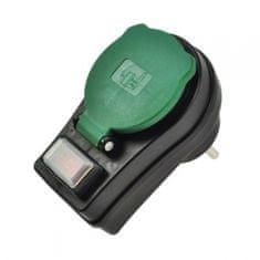 Solight Zásuvka průběžná s vypínačem 230V 16A černá IP44 P98 Solight