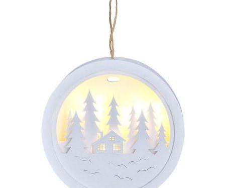Solight Led dekoráció lógó, erdő, ház, fehér, 2x aaa