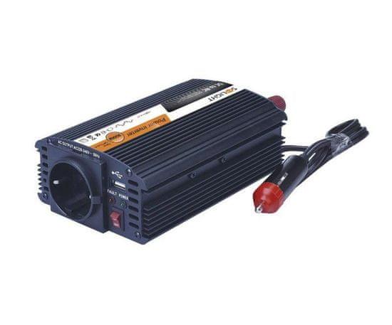 Solight Invertor 12v, usb 500ma, kovový, černý