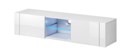 Furnitura TV omarica HOLLY bela visoki sijaj 140 cm + LED