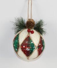 DUE ESSE Set 6 ks vianočných gulí s vetvičkou, Ø 8 cm
