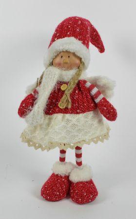 DUE ESSE Ozdoba świąteczna dzianinowa stojąca dziewczynka ze skrzydłami, 50 cm