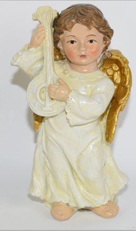 DUE ESSE božična angelska figurica z lutnjo, 10 cm