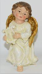 DUE ESSE Vianočná figúrka anjel s harfou, 10 cm