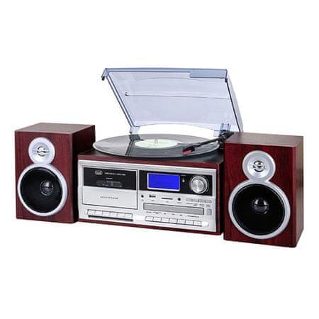 Trevi hifi sztereó rendszer, TT 1070 E / WD lemezjátszó + rádió + BT, fa