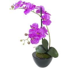 Europalms Orchidea fialová v dekoračným kvetináči, 45 cm