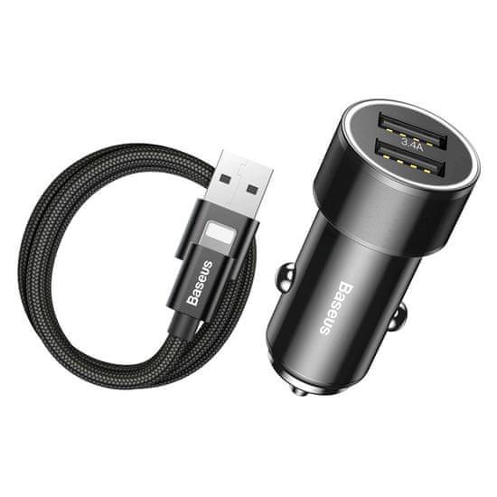 BASEUS Small Screw autonabíječka 2x USB 3.4A + Lightning kabel 2A 1m, černá