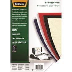 """Fellowes Zadní kryt """"Delta"""", pro kroužkovou vazbu, imitace kůže, matný tmavě červený, A4, 270 g"""