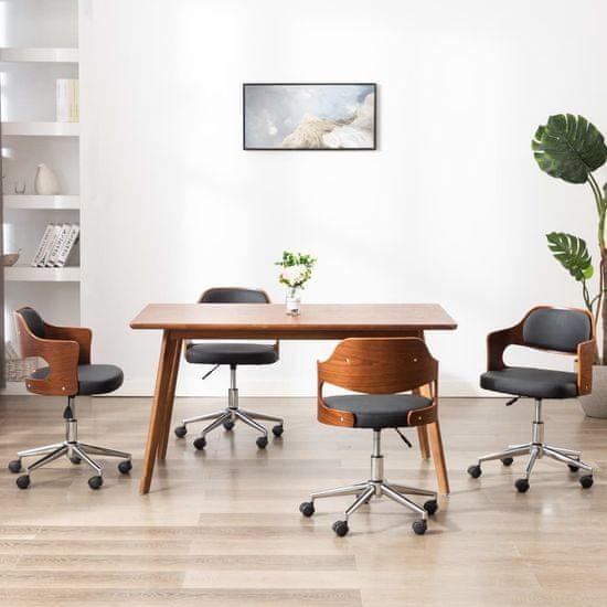 Vidaxl Otočné jídelní židle 4 ks černé ohýbané dřevo a umělá kůže