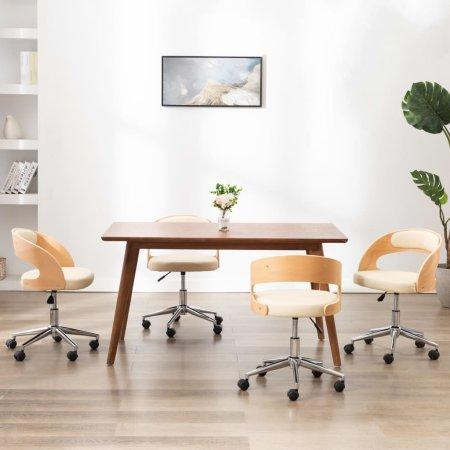 slomart Vrtljivi jedilni stoli 4 kosi krem ukrivljen les in um. usnje