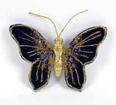DUE ESSE Motýl se sponou, modro-zlatý, 16 x 12 cm