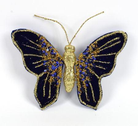 DUE ESSE metulj s sponko, modro-zlat, 16 x 12 cm