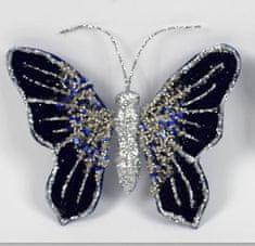 DUE ESSE Motýl se sponou, modro-stříbrný, 16 x 12 cm
