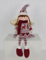 DUE ESSE Vianočná dekorácia sediace dievčatko - anjel, 50 cm