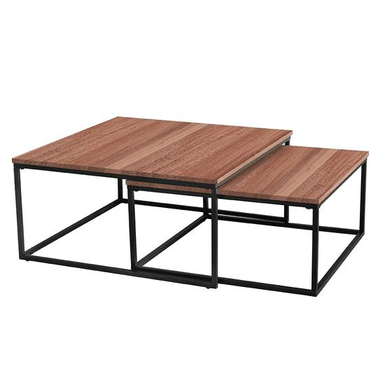 TEMPO KONDELA Set dvoch konferenčných stolíkov, orech/čierna, KASTLER TYP 1