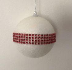 DUE ESSE Set 4 ks vánočních ozdob - bílá koule s červenými kamínky, Ø 10 cm