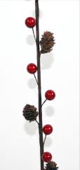 DUE ESSE božična vejica z borovimi storžki in rdečim jagodičevjem, 90 cm