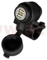 Oxford USB zásuvka 5V/2A, 2 vstupy s objímkou pro uchycení k řidítků a trubkám o průměru 22 a 25 mm, OXFORD EL102