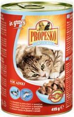 Propesko kousky kočka losos a pstruh v omáčce 12x415 g