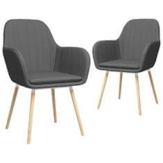 Vidaxl Jídelní židle s područkami 2 ks tmavě šedé textil