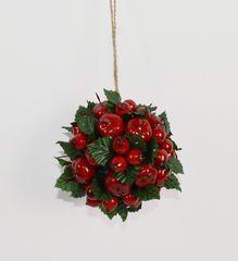 DUE ESSE ozdoba świąteczna - wisząca kula z jagód jarzębiny i zielonych liści, Ø 10 cm