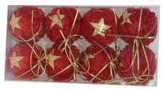 DUE ESSE Set 8 božičnih okraskov Ø 6 cm, tekstil, rdeči