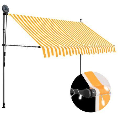 slomart Ročno zložljiva tenda z LED lučmi 250 cm bela in oranžna