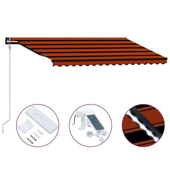 Zatahovací markýza senzor větru a LED 400x300 cm oranžovo-hnědá