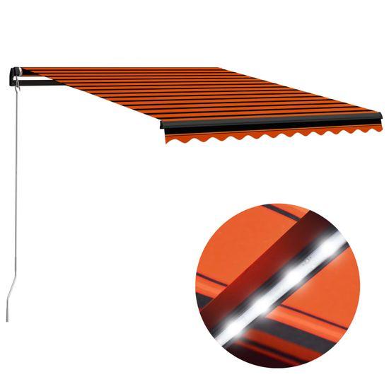 shumee Ručne zaťahovacia markíza s LED 300x250 cm oranžovo-hnedá