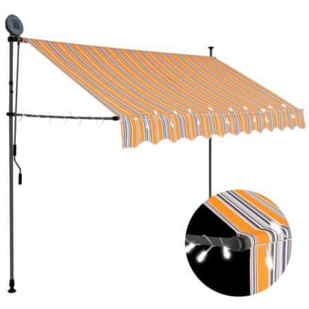 slomart Ročno zložljiva tenda z LED lučmi 300 cm rumena in modra