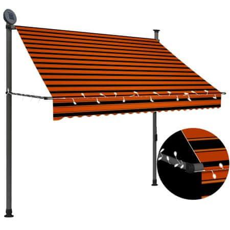 slomart Ročno zložljiva tenda z LED lučmi 200 cm oranžna in rjava