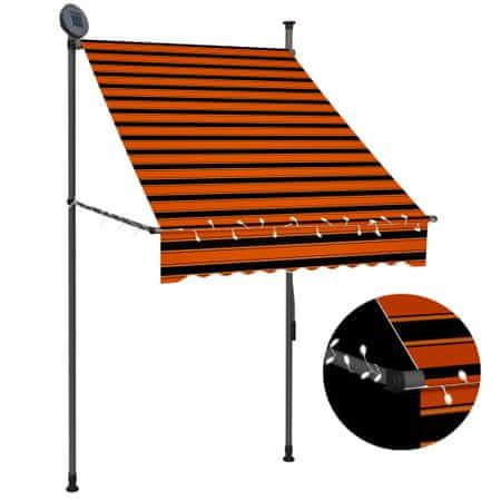 slomart Ročno zložljiva tenda z LED lučmi 100 cm oranžna in rjava