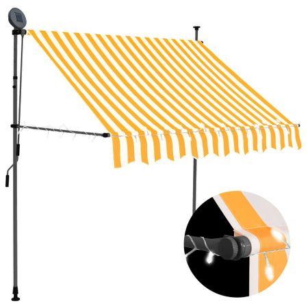 slomart Ročno zložljiva tenda z LED lučmi 150 cm bela in oranžna