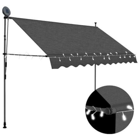 slomart Ročno zložljiva tenda z LED lučmi 250 cm antracitna
