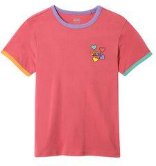 Vans dívčí tričko GR HEARTS V HOLLY BERRY/MUL
