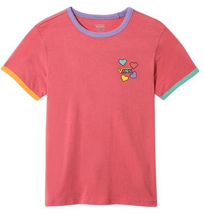 Vans Lány póló GR HEARTS V HOLLY BERRY/MUL, XL, rózsaszín