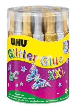 UHU Glitter lepilo z bleščicami, zlato/srebrno, 20 ml