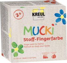 """KREUL Sada prstových barev na textil """"MUCKI"""" 4 barvy 150 ml, Hobby Line"""