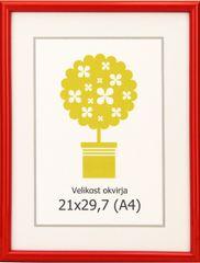 Karako Foto okvir 21x29,7 cm, plastika, stenski, 95 rdeč A4