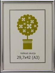 Karako Foto okvir 29,7x42 cm, plastika, stenski, 95 srebrn A3
