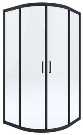 Deante Funkia KYP N51K polukružna tuš kabina, 90 cm, R550, prozirno staklo, crni profili