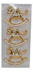 DUE ESSE komplet božićnih ukrasa Konj, 8 cm, zlatno/bijele boje, 3 komada