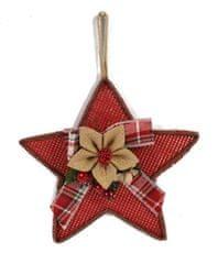 DUE ESSE Vianočná závesná látková hviezda, 28 cm